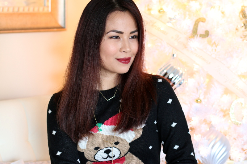 Christmas sweater, dress, teddy bear