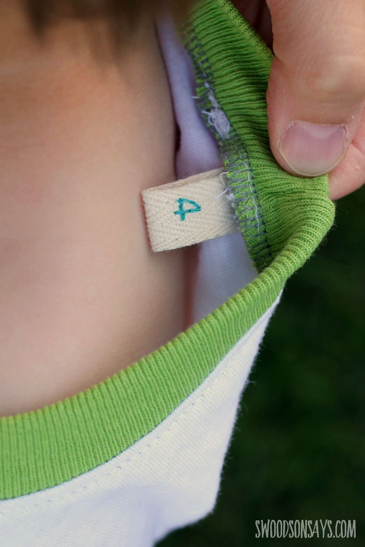 embroidered size tag on twill tape