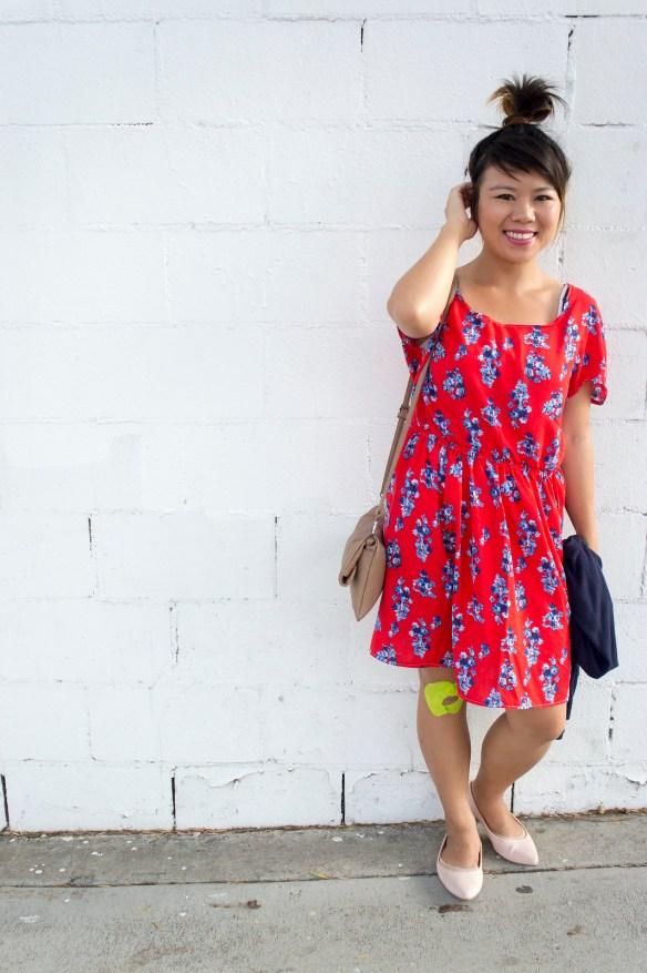 Red Scoop Neck Kimono Sleeve Dress DIY