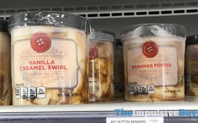Red Button Vintage Creamery Vanilla Caramel Swirl and Bananas Foster Gelato