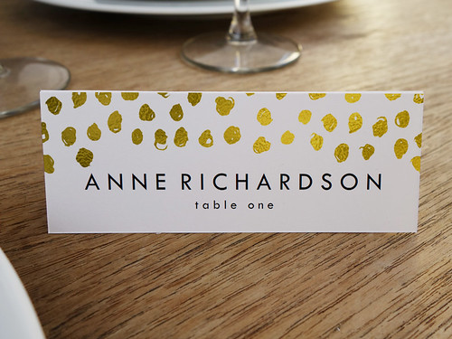 Gold Dots Printable Place Card Template