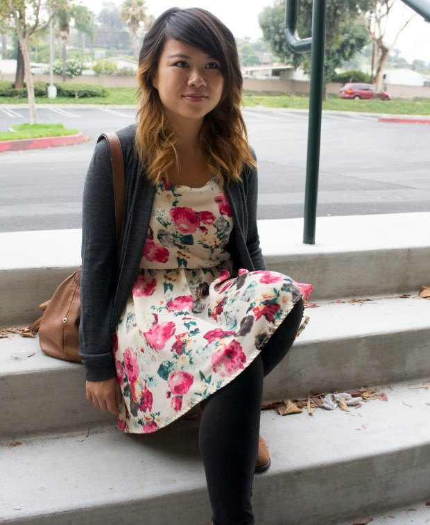 FLoral Dress and Gray Cardigan Outfit