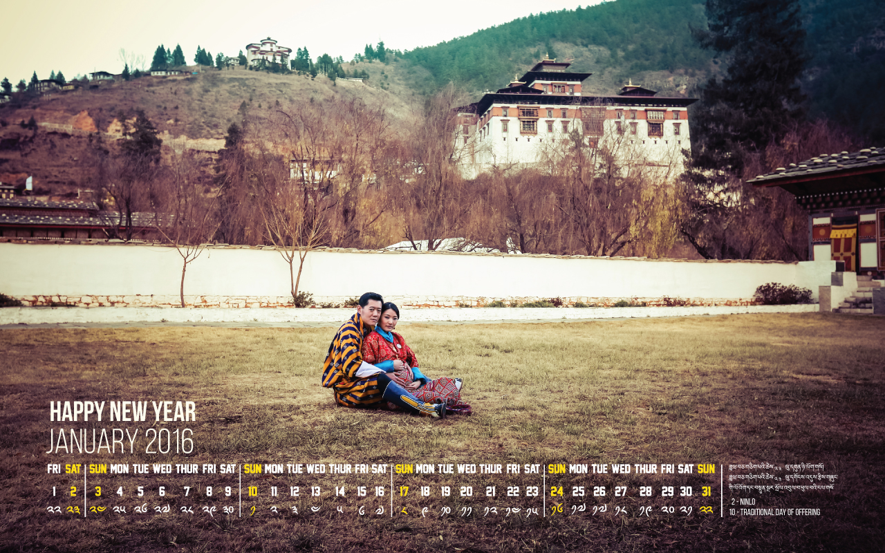 Happy New Year - Calendar - January 2016