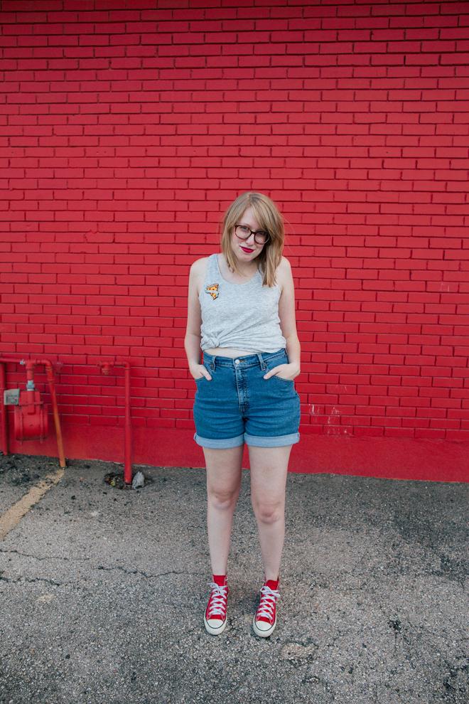 pizza pin high-waisted shorts1