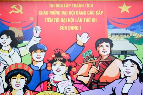 Happy hill folk. Propaganda poster, Sa Pa