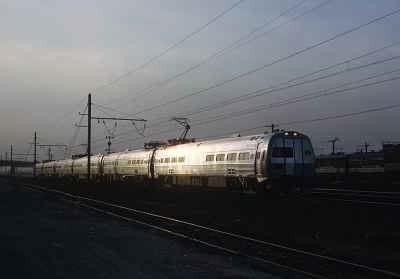 Penn Central Train 2000, The Metroliner on the Inaugural Run of Metroliners passing Ivy City Terminal, Washington DC on January 16, 1969