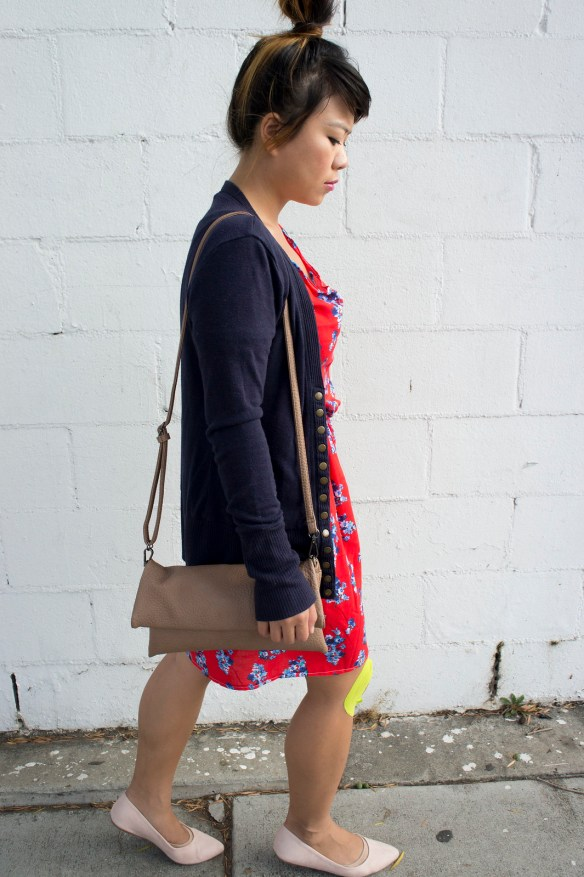 DIY Red Dress and Blue Cardigan Outfit