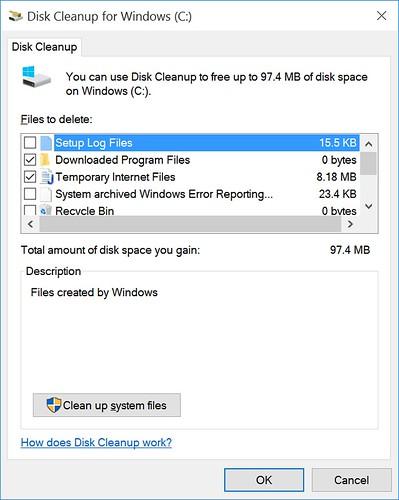 คลิกที่ Clean Up System Files