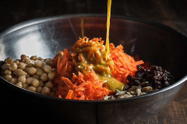 Protein-packed vegan carrot salad with spiced turmeric vinaigrette