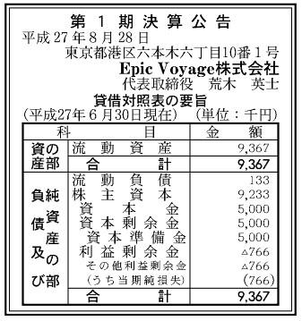 株式会社Epic Voyage 第1期 決算公告(平成27年6月30日現在)