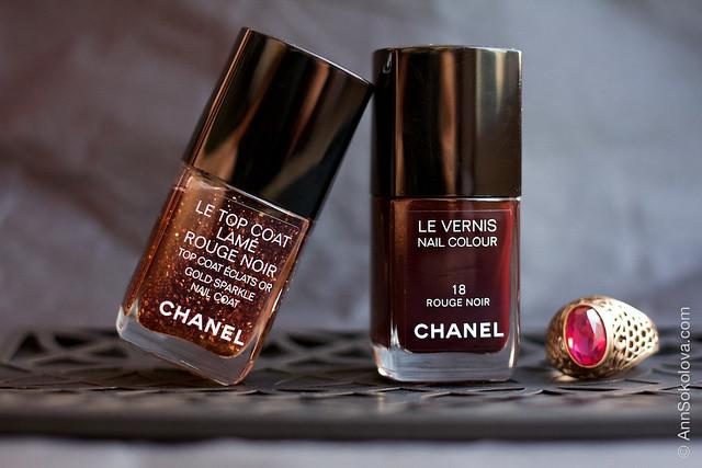 01 Chanel Le Top Coat Rouge Noir and Chanel 18 Rouge Noir