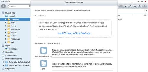 จาก File Station ก็สามารถเชื่อมต่อกับ Remote Storage อื่นๆ ได้มากมาย