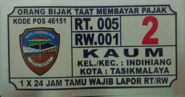 Plat Nomor Rumah Tasikmalaya Indihiang