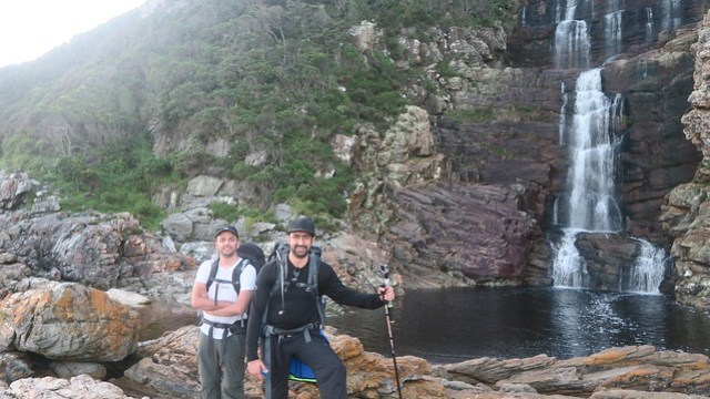 zaid and yusuf otter trail day 1 at waterfall