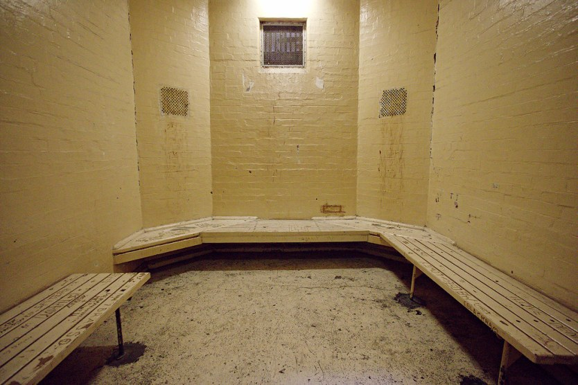 A standard holding cell inside the Watch House.