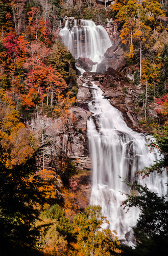 Whitewater Falls with Fall Leaves-008