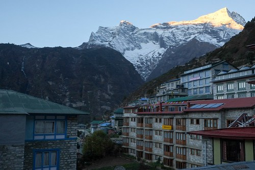 View from our lodge room. Khang-Ri Hotel, Namche Bazaar