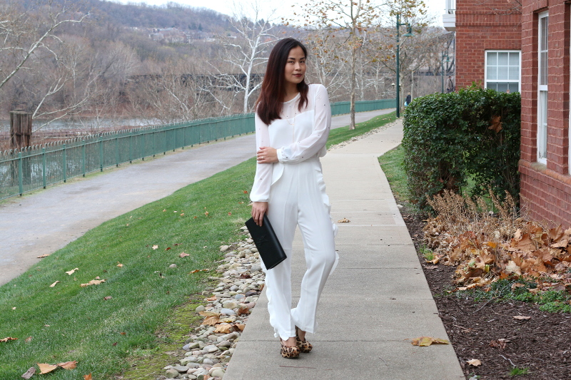 French Connection Holiday outfit, white on white, leopard pumps, YSL clutch