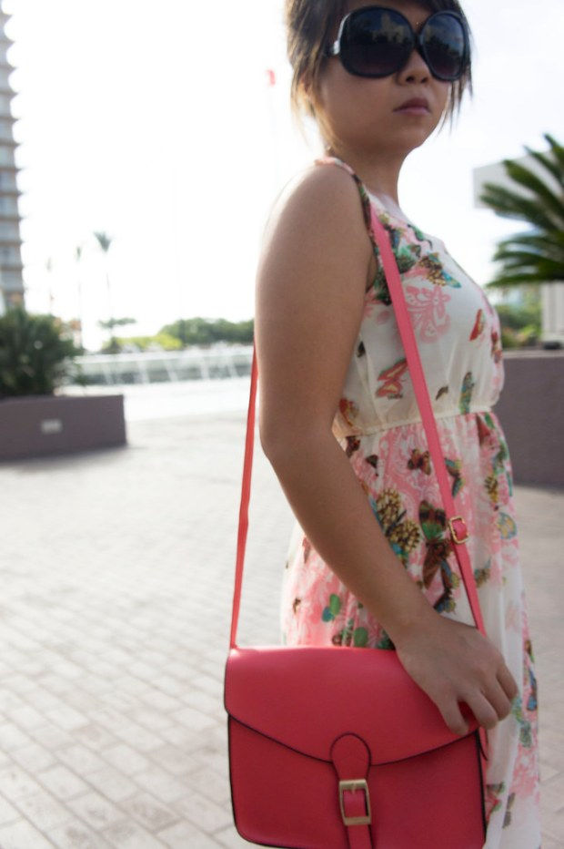 Pink Purse with Floral Maxi Dress