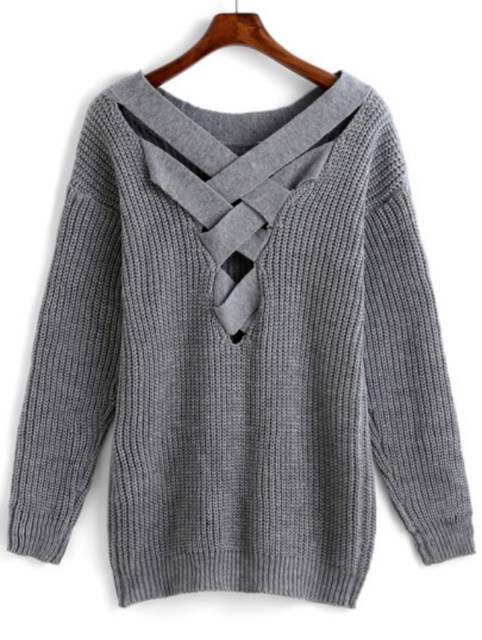 Winter is Coming: SheIn's Crisscross-Back Hollow Sweater (Grey)