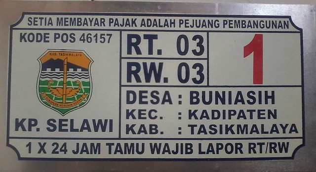 Plat Nomor Rumah Tasikmalaya