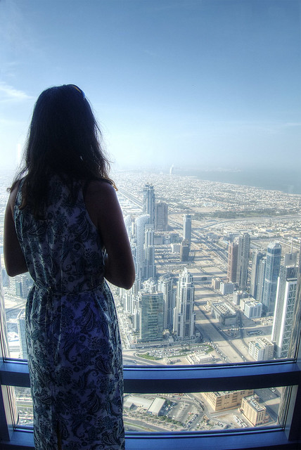 Heather looking out over Dubai from Burj Khalifa.