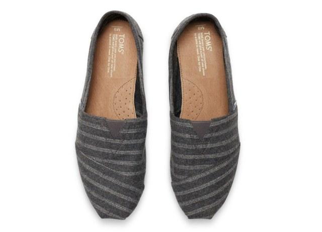 TOMS Grey Wool Stripe Men's Classic Shoes
