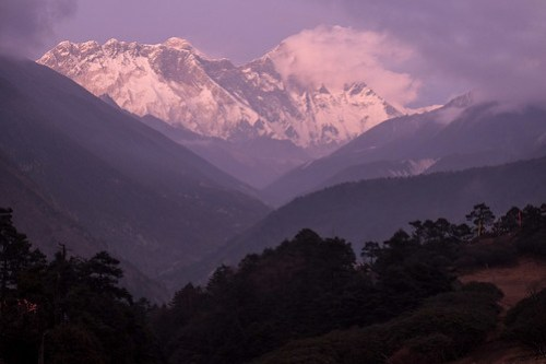 Purple sunset. Tengboche