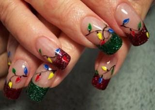 nails-Christmas lights