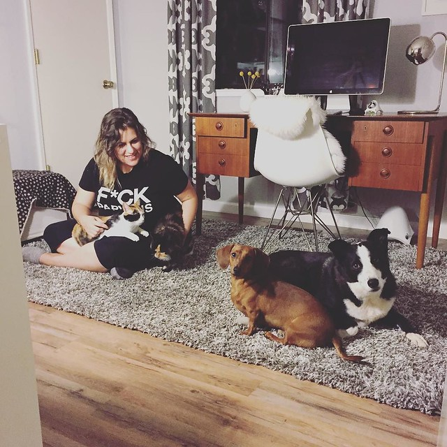Having a moment on my new office rug with all my furbabies | photo by @daniloo