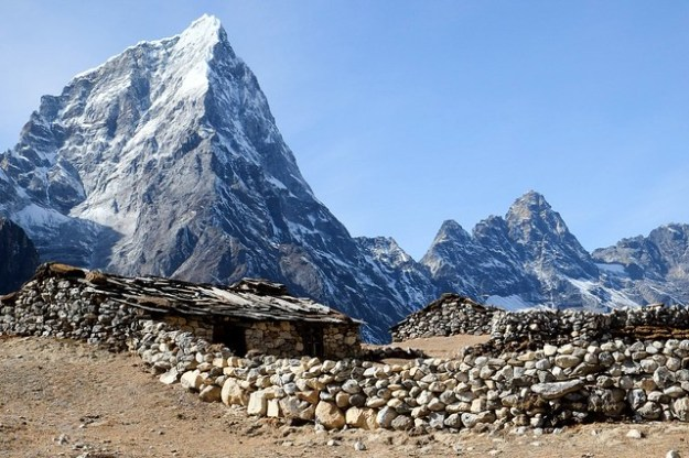 Stone walls. Hut on the ridge above Dingboche