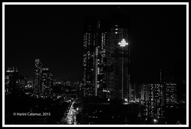 The Night skyline bw