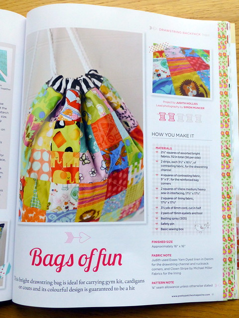 Kids Drawstring bag in Pretty Patches issue 18