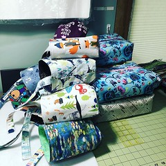 """Getting ready for @websyarn Fleece Market this Saturday - here is yesterday's pile! Allll the buckets and some large boxes! #showprep #sewingallthethings #stitchedbyjessalu #handmade #projectbags for your #knitting or #crochet #craftbusiness #smallbusines • <a style=""""font-size:0.8em;"""" href=""""http://www.flickr.com/photos/85938040@N00/40890608513/"""" target=""""_blank"""">View on Flickr</a>"""