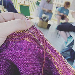 """Speaking of knitting in public - I'm hanging out at the gazebo in Chatham NY this afternoon with @thewarmewe and my fading point shawl #kip #wwkipday2019 #knitinpublicday2019 #knit #knitting #knittersofinstagram #knittersofig • <a style=""""font-size:0.8em;"""" href=""""http://www.flickr.com/photos/85938040@N00/48025904966/"""" target=""""_blank"""">View on Flickr</a>"""