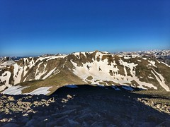 Looking over towards Mount Belford from the summit of Mount Oxford