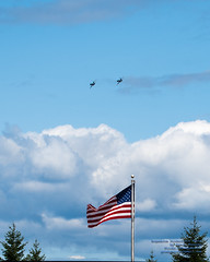 """The Two F/A-18E """"Rhinos"""" and the American Flag"""
