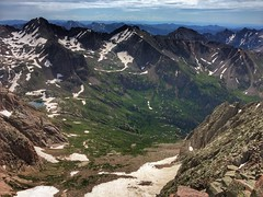 Looking down at the head of the Chicago Basin from the summit of Mount Eolus