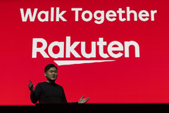 Rakuten CEO and founder Hiroshi Mikitani speaks at Rakuten Optimism 2019 conference in San Francisco, California on October 23, 2019. (Photo by Yichuan Cao/Sipa USA)