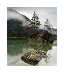 Hintersee, Germany on a foggy morning