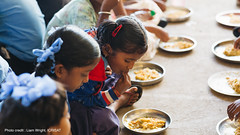 School children tasting millet meal