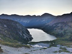 Looking back towards Snowmass Lake at dawn