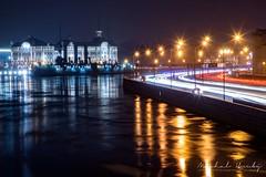 The cruiser Aurora at night