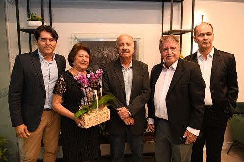 Wander Luís, a viúva de Paulo Guerra, Matusalém Sampaio, Manoel Medeiros e Flávio Leal