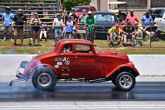 Lamar Walden Jr.'s 409-powered A/Gas Willys doing a nice burnout