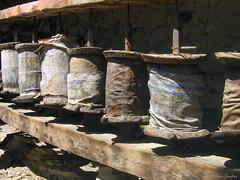 Very old prayer wheels. Annapurna Circuit, Nepal 2007