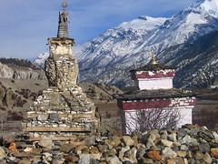 Stupas near Manang. Annapurna Circuit, Nepal 2007
