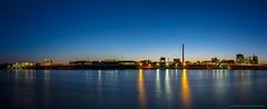 Blaue Stunde am Rhein bei Duisburg-Mündelheim