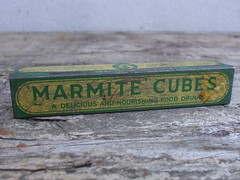 Vintage 1930's Green & Yellow Marmite Cubes Advertising Tin