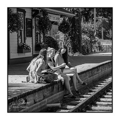 Friends at the train station